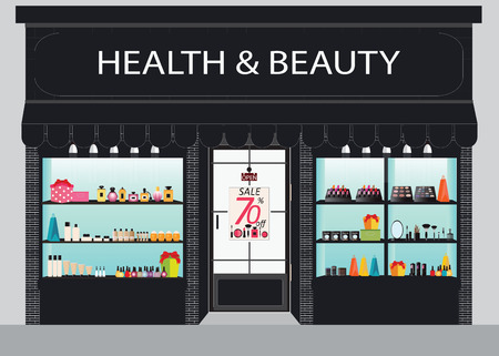 Cosmetics store building and interior with products on shelves, shopping, beauty shop, cosmetic products, beauty salon shopping, health and beauty illustration.