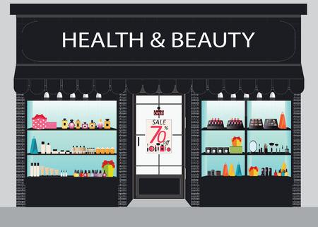 Kosmetik-Shop Gebäude und Interieur mit Produkten auf Regalen, Einkaufen, Kosmetik, Kosmetikprodukte, Beauty-Salon Einkaufen, Gesundheit und Schönheit Illustration.