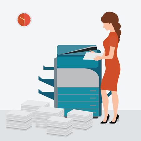 Zakenvrouw met behulp van kopiëren printen machine met Gestapelde stapel van dossierstukken, illustratie. Stock Illustratie
