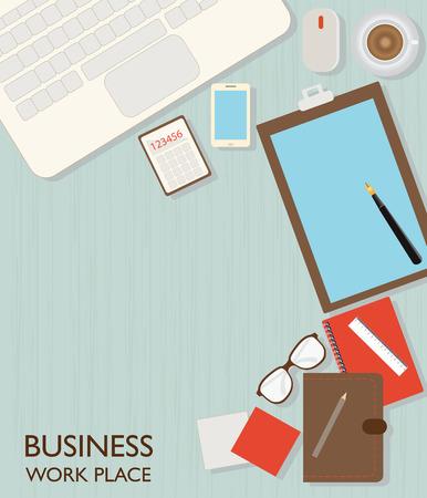 workspace: Top view of Business workspace, flat design illustration. Illustration