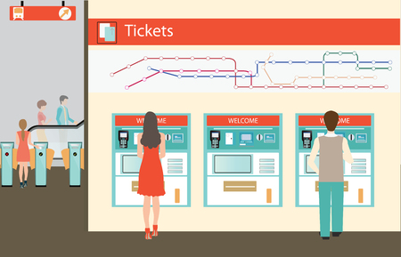 People  buying a ticket for the train, Train ticket vending machines wiyh Railway Map, Entrance of railway station, transportation illustration.