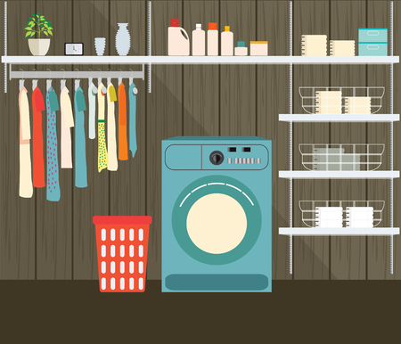 powder room: Laundry room with washing machine, facilities for washing, washing powder and basket on shelves, Flat style illustration.