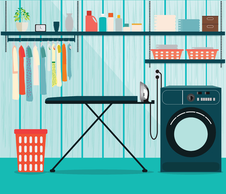 powder room: Laundry room with washing machine and ironing board, facilities for washing, washing powder and basket on shelves, Flat style  illustration. Illustration