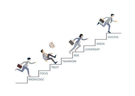 upstairs: Concept of competition with Business people that climbs high stairs isolated on white background, conceptual illustration. Illustration