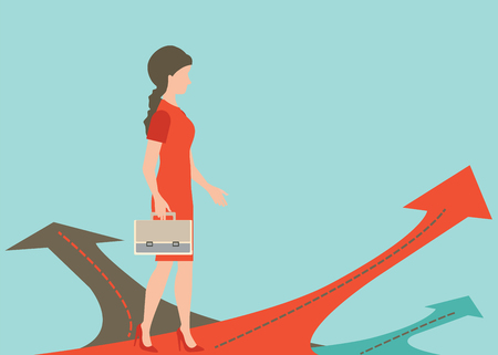 business woman standing: Business woman standing on the arrow with many directions ways,Choices concept, illustration. Illustration