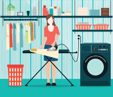 powder room: Woman ironing of clothes on ironing board in Laundry room with washing machine, facilities for washing, washing powder and basket on shelves, Housework Flat style illustration.