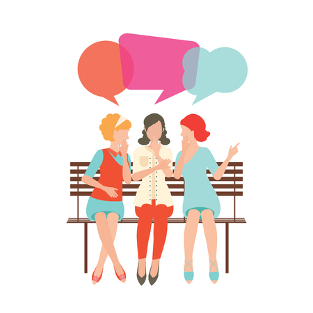 whispering: Cartoon character of women with colorful dialog speech bubbles, woman gossip conceptual illustration.