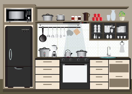 kitchen illustration: Interior kitchen with kitchen shelves and cooking utensils, electronics equipment on counter in tiles patterned background, illustration.