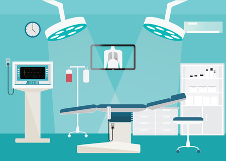 Medical hospital surgery operation room interior at the hospital with medical equipment , illustration.