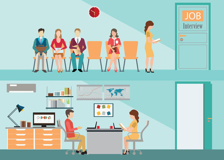 candidates: Recruitment flat set with candidates sitting on chair front of a door for giving interview, job interview, hired the job, human resources conceptual illustration.