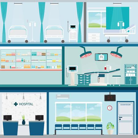 Información gráfica de un hospital Médica sala de operación de la cirugía y la sala de post-operación, el cuidado de la salud entre edificios ilustración conceptual.