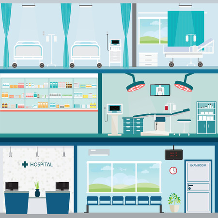 Info graphic of Medical hospital surgery operation room and post-operation ward,  interior building health care conceptual illustration. Stock Illustratie