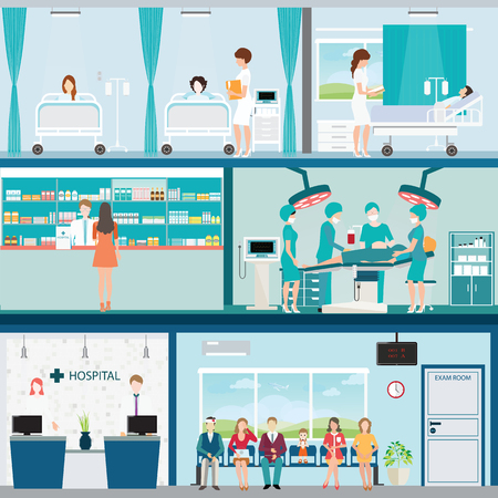 Info grafica di chirurgia dell'ospedale medico camera operazione con medici e pazienti e reparto post-operazione, tra l'edificio, l'assistenza sanitaria illustrazione concettuale. Archivio Fotografico - 56403598