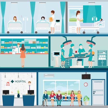 Info grafische Medische ziekenhuis chirurgie operatie kamer met artsen en patiënten en na de operatie afdeling, onder de bouw, gezondheidszorg conceptuele illustratie.