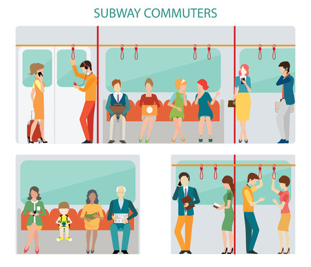 Commuters subway or passangers activities in subway, interior subway train, Flat design with character illustration. Stock Illustratie