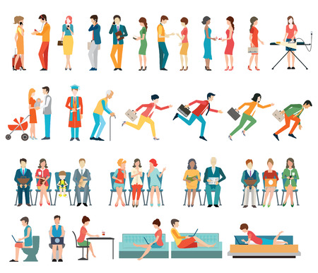 Crowd of people characters cartoon isolated on white background. flat design illustration. Vector Illustration