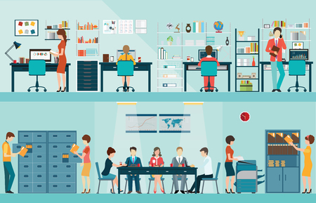 geeky: Office people with office desk and Business meeting or teamwork, brainstorming in flat style illustration. Illustration