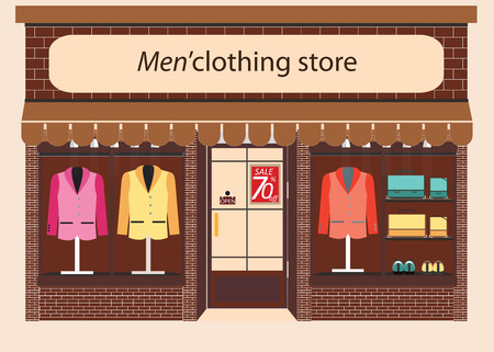 clothing store: Clothing store, Boutique indoor of mens cloths fashion, tailor shop, exterior building, illustration.