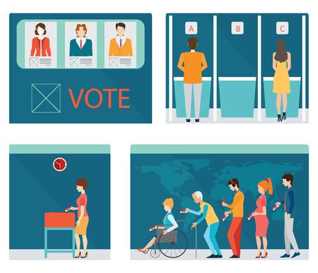 Infos graphique des cabines de vote avec des gens qui attendent en ligne pour le vote à l'urne, vote au scrutin avec la boîte, chaque couche séparée facile à utiliser. illustration.