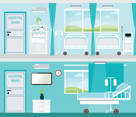 Hospital room with beds and comfortable medical equipped in a modern hospital,interior illustration. Stock Illustratie