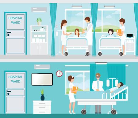 Médico y el paciente en la habitación del hospital con camas cómodas y equipadas médica en un hospital moderno, ilustración interior.