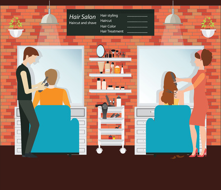 hairtician: Hairdresser cuts customer s hair in the beauty salon, hairdresser fashion model, Hair salon interior building illustration.