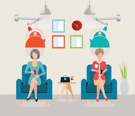 donna nel salone di bellezza con rulli di capelli ricciolo, attrezzature moderne per parrucchiere, acconciatura illustrazione. Vettoriali