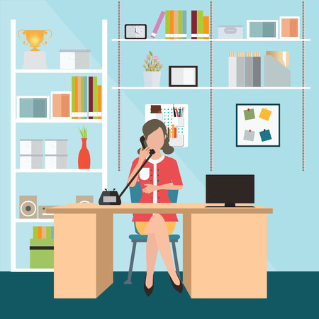taking notes: Business woman talking on the phone in office, Interior office room, office desk, conceptual illustration.