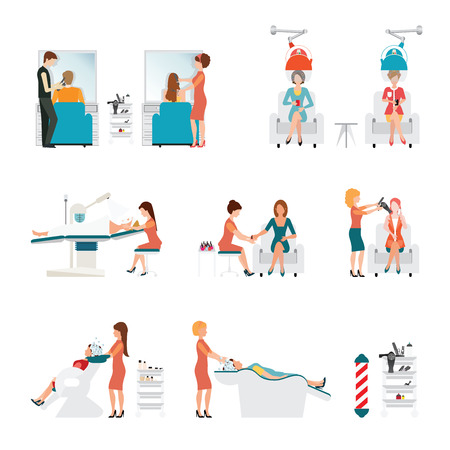 woman washing hair: Hair beauty salon with hairdresser and customer, hair curl rollers, washing hair, hair cut, hair dryer, nails manicure and spa face treatment isolated on white background, illustration. Illustration