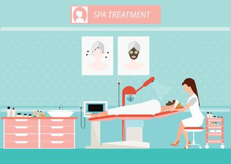 Beauty gezichtsmassage behandeling van de gezichtshuid met ozon facial steamer op bed in spa, vrouwen die de stoom, schoonheid conceptuele illustratie.