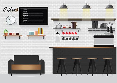 woman drinking milk: Modern Flat Design Coffee shop with coffee bar or counter,Interior Illustration. Illustration