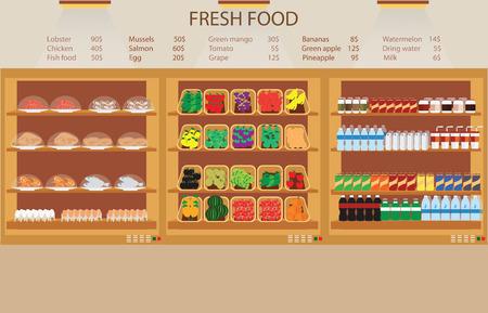 Supermarkt supermarkt met vers voedsel, fruit, groenten, drank illustratie.