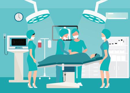 医療機器、病院で手術室で医療チーム提供赤ちゃん間病院外科手術の図。