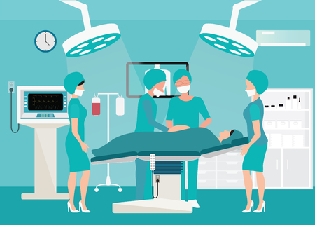 Medical team delivering baby in operation room interior at the hospital with medical equipment , Medical hospital surgery illustration.