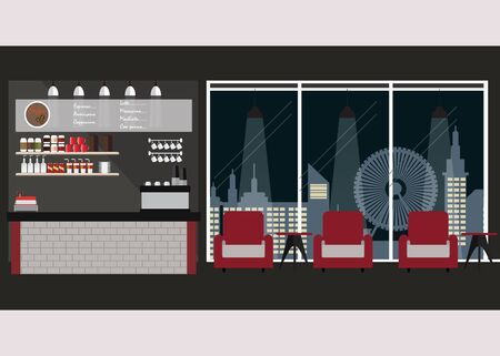 woman drinking milk: Modern Flat Design coffee shop interior with coffee bar and sofa ,nihgt city view background Illustration.