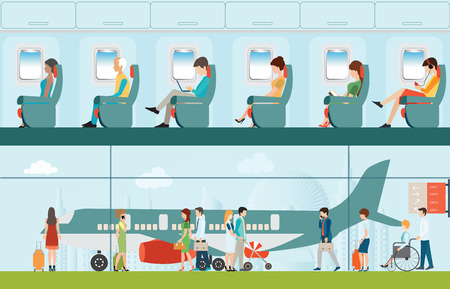passenger airline: Passenger airline in airport terminal and Airline interior with plane seat and airplane passengers on the flight business travel illustration.