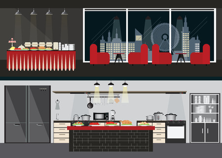 pareja comiendo: Conjunto de semiproductos restaurante, comedor y mesa de buffet en vista nocturna de la ciudad en el fondo y entre la cocina, la ilustración en diseño plano.