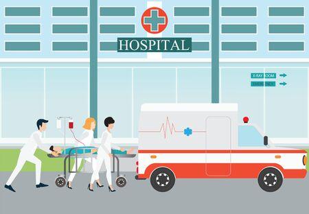 evacuation: accidente de evacuaci�n m�dica de emergencia ambulancia con llevar a la cama del paciente del hospital en el fondo, ilustraci�n vectorial. Vectores