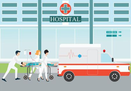 patient bed: Ambulance emergency medical evacuation accident with carry patient bed on hospital background, vector illustration.