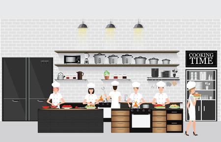 Chefs de cuisine à la table dans le restaurant intérieur de cuisine avec des étagères de cuisine et ustensiles de cuisine, du matériel sur le comptoir avec des briques de fond à motifs, illustration vectorielle.