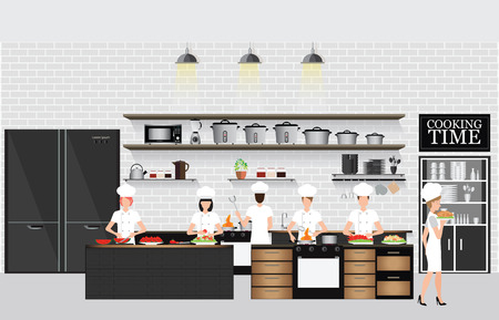Chefs cooking at the table in restaurant kitchen interior with kitchen shelves and cooking utensils, equipment on counter with bricks patterned background, vector illustration.