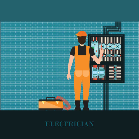 power system: Electrician holding Measuring the power screwdriver with Electrical control wire system, Supply of electricity, vector illustration. Illustration