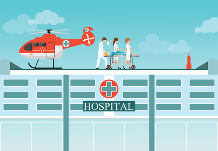 patient bed: Medical emergency chopper helicopter with carry patient bed at the hospital building,ambulance helicopter vector illustration.