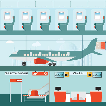 passenger airline: Set of airport terminal with check in counter and security checkpoint, Passenger airline in airport terminal and Airline interior with plane seat on the flight business travel vector illustration.