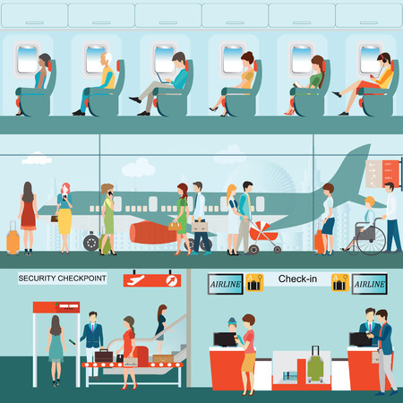 check in: Set of Passenger airline at airport terminal with check in counter and security checkpoint, Airline interior with plane seat on the flight business travel vector illustration. Illustration