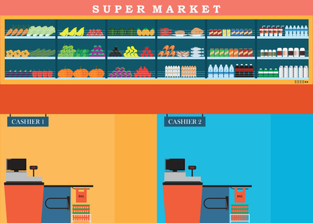 mart: Supermarket with fresh food on shelves and counter cashier, Flat vector illustration.