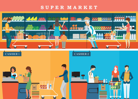checkout line: People in supermarket grocery store with shopping baskets for line up to pay for shopping isolated vector illustration.