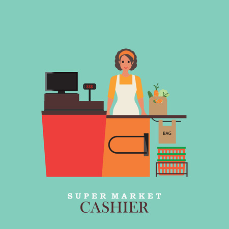 sales clerk: Woman cashier smiles and  standing in supermarket, Sales clerk working with customers at the technology store or department,Flat vector illustration. Illustration