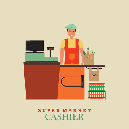 sales clerk: Cashier man smiles and  standing in supermarket, Sales clerk working with customers at the technology store or department,Flat vector illustration.