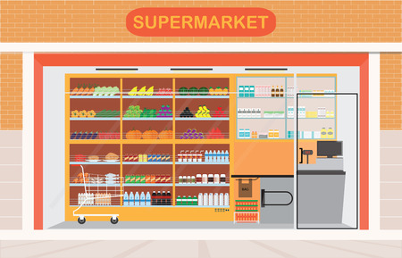 mart: Supermarket building and interior with fresh food on shelves and counter cashier, Flat vector illustration. Illustration